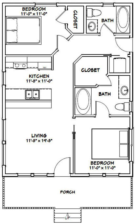 Bedroom 10x10 Size: 24x32 House -- 2-Bedroom 2-Bath -- 768 Sq Ft -- PDF Floor