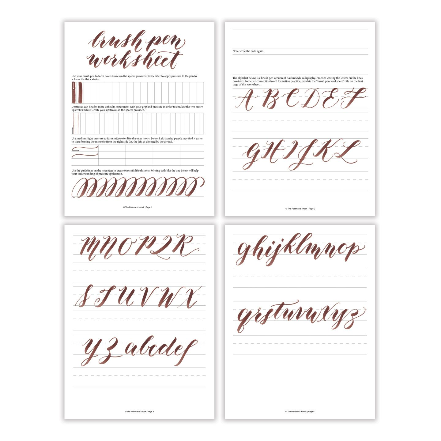 Free Basic Brush Pen Calligraphy Worksheet