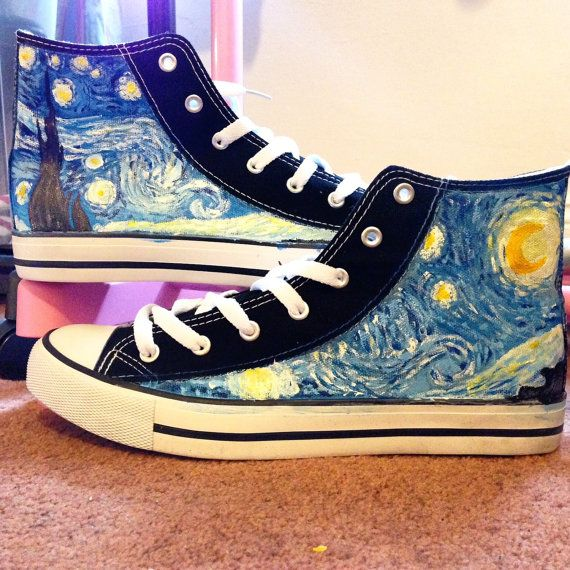 25a3e8479f8 van gogh starry night - Custom hand painted converse style shoes ...