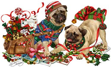 """New for 2015!  Pug Christmas Holiday Cards are 8 1/2"""" x 5 1/2"""""""