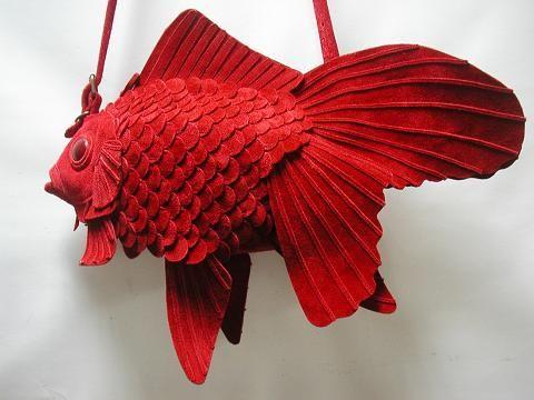 Atelier Wakiri red suede goldfish bag