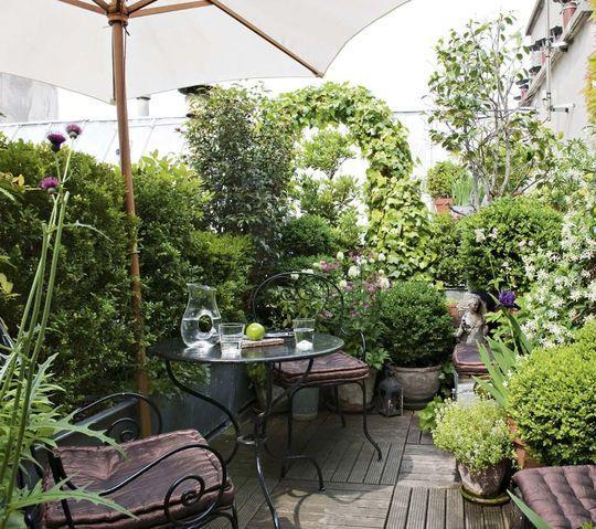 13 photos de terrasses fa on jardin vert urbain for Petit muret de jardin