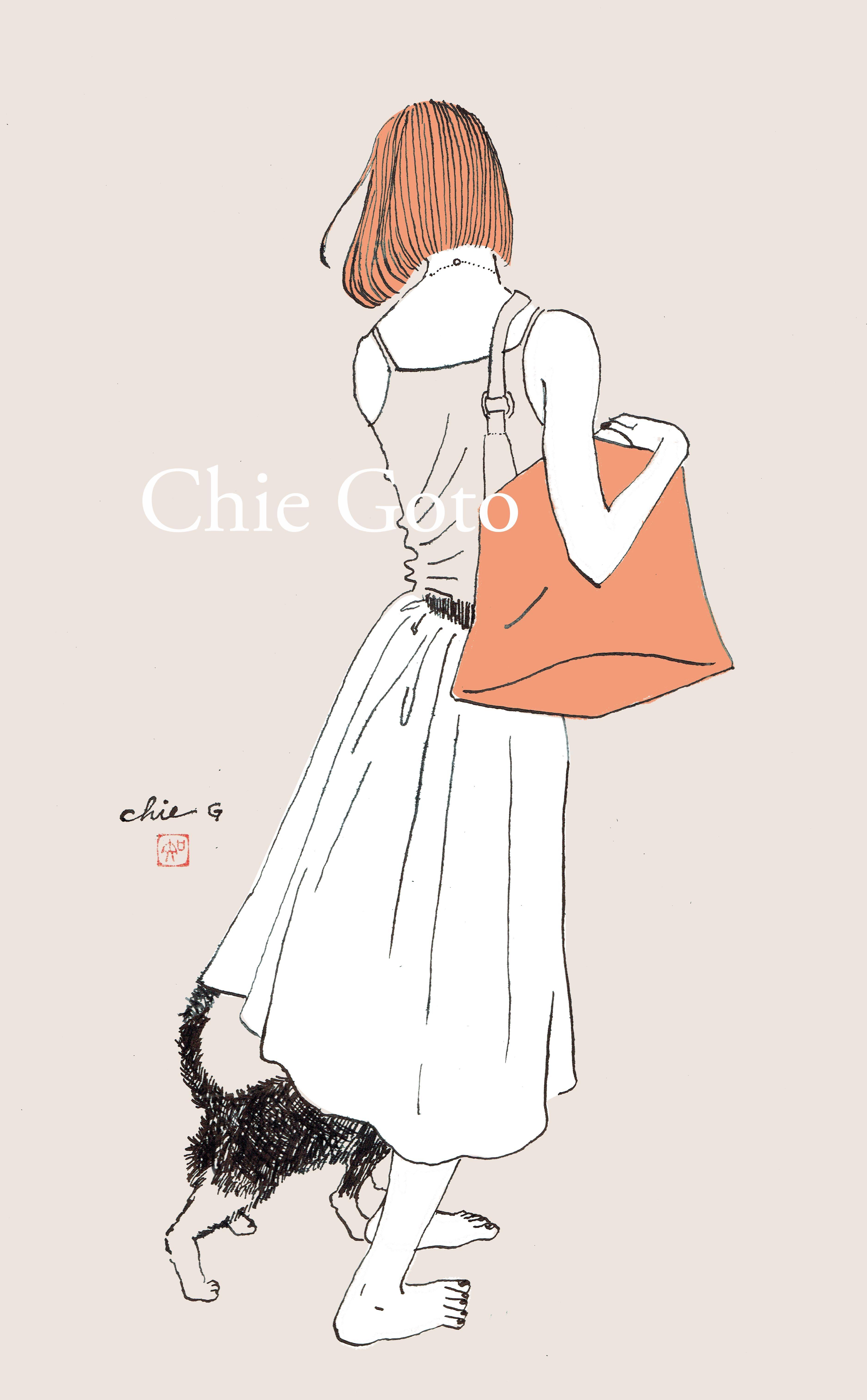ガールズイラスト #ファッションイラスト #オシャレイラスト #猫