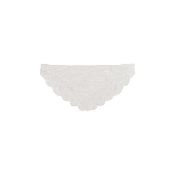 Marysia Swim Broadway scallop-edged bikini briefs ($145) ❤ liked on Polyvore featuring intimates, panties, white, white bikini bottoms, marysia swim, swim bikini bottoms and scalloped bikini bottoms