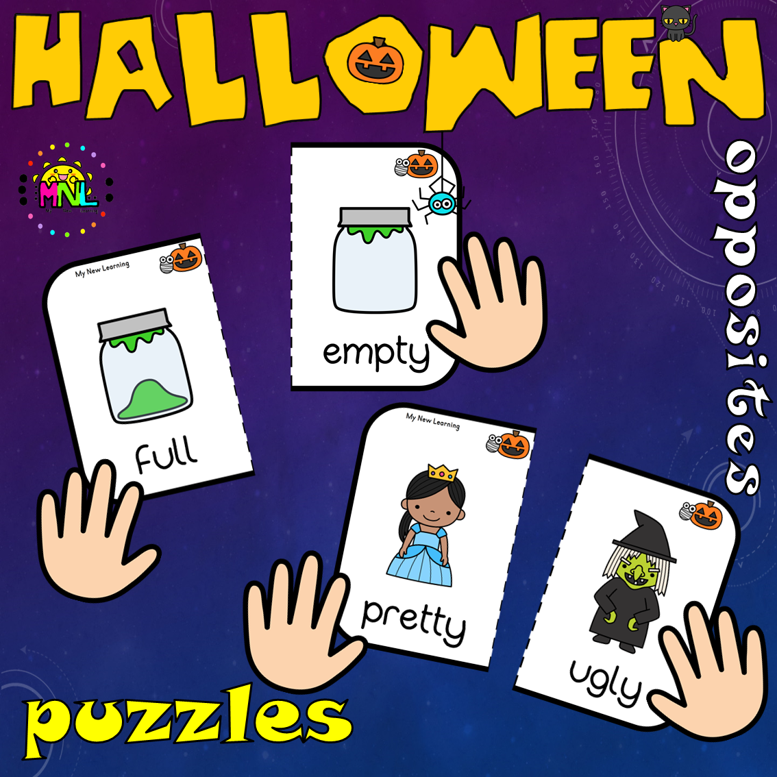 Halloween Opposite Puzzles And Worksheets Pack 1st Grade
