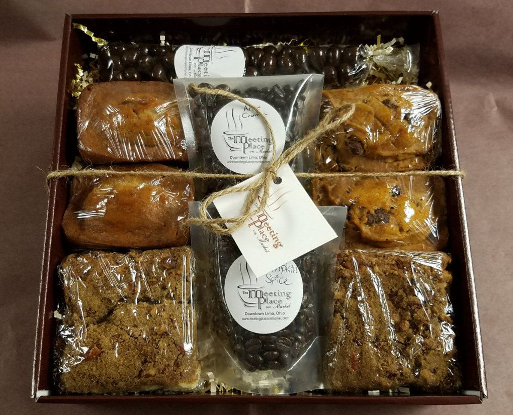 Gourmet breakfast gift basket with coffee homemade baked