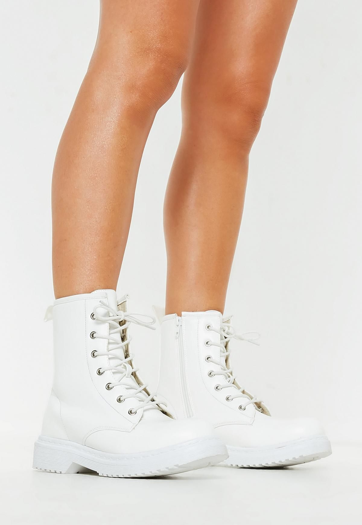 cheap for sale best value size 7 White Chunky Sole Lace Up Ankle Boots | Missguided in 2019 ...