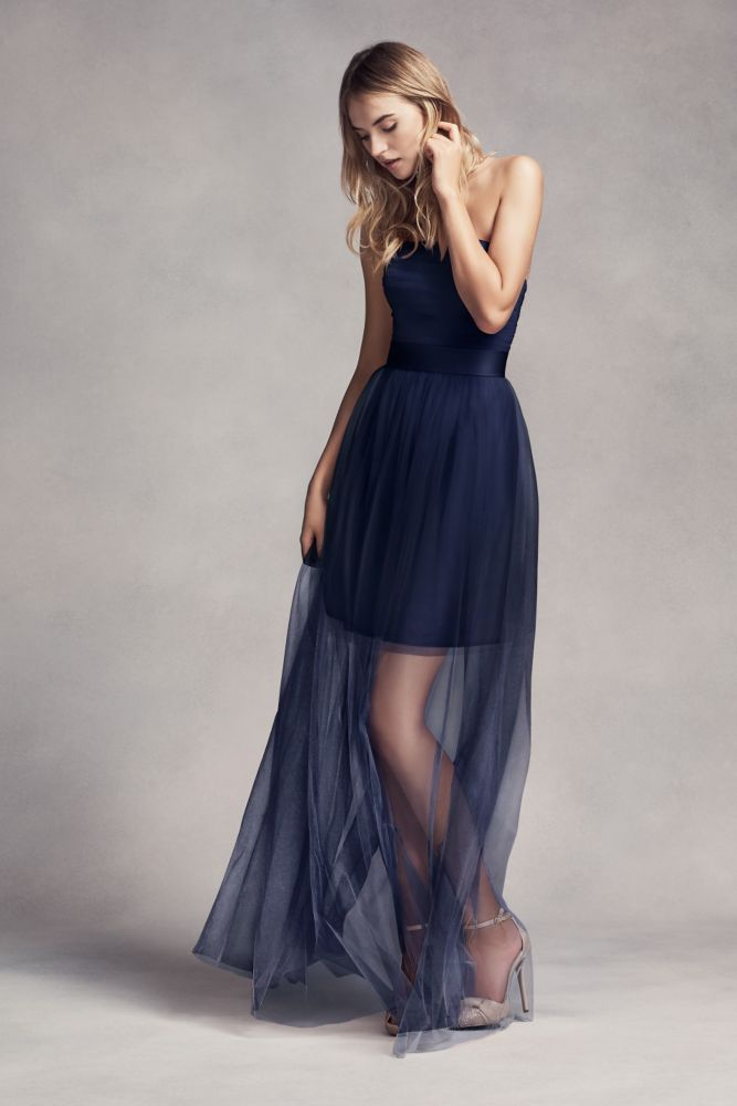 d26861e49dd3 Tulle Short Bridesmaid Dress with Illusion Overskirt