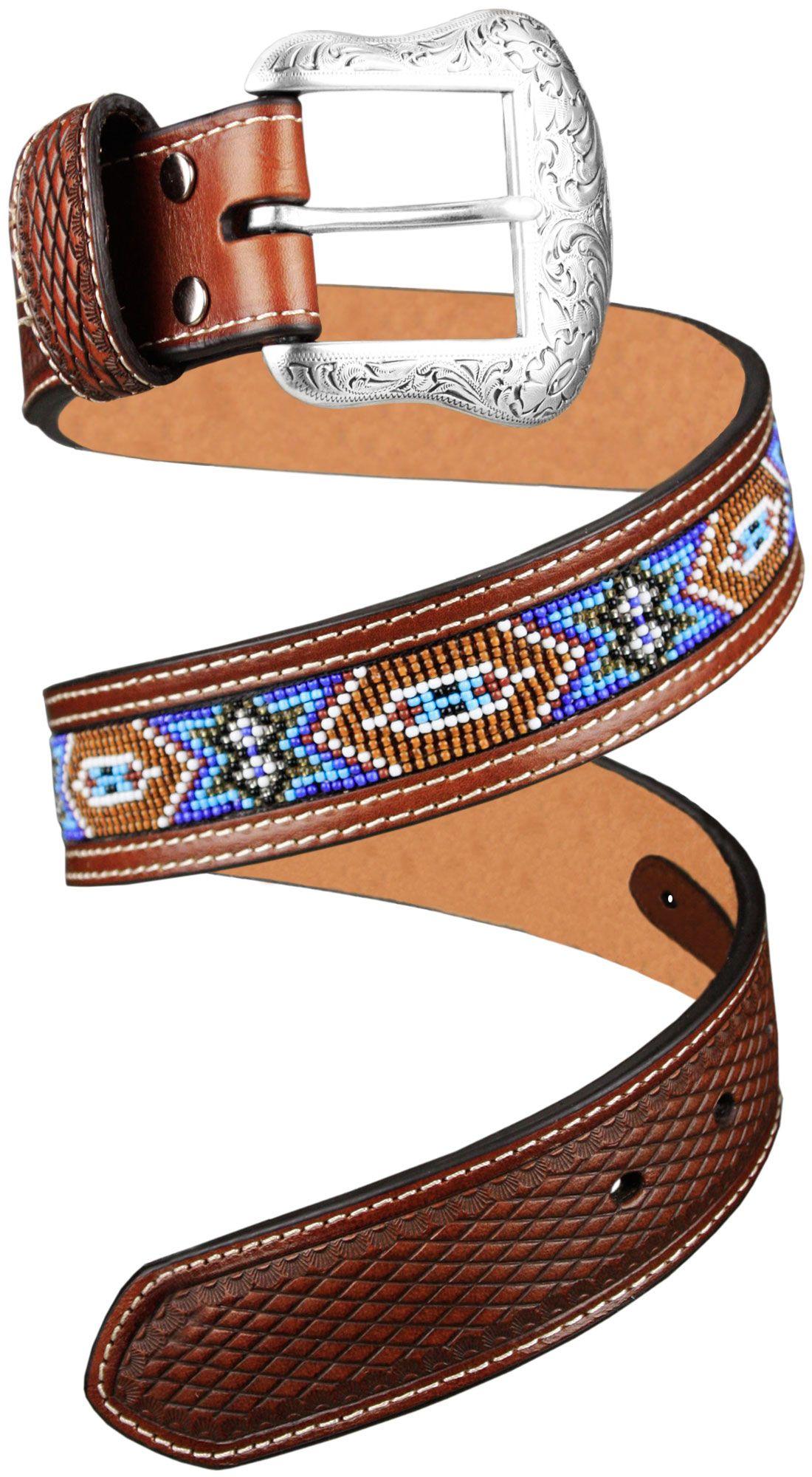 Cinto Masculino de Couro Importado Nocona e Miçangas Cinto masculino em  couro com desenho estilo indígena 985c046f656