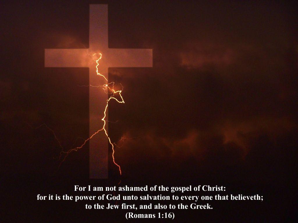 I Am Not Ashamed Christian Cross Wallpaper Romans Gospel