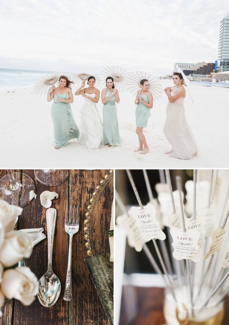 Bridesmaids in mint green barefoot vera wang bride a beachchic
