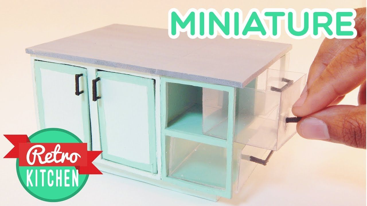 Kitchen Center Island | Retro Miniature Kitchen Room Box 1:12 ...