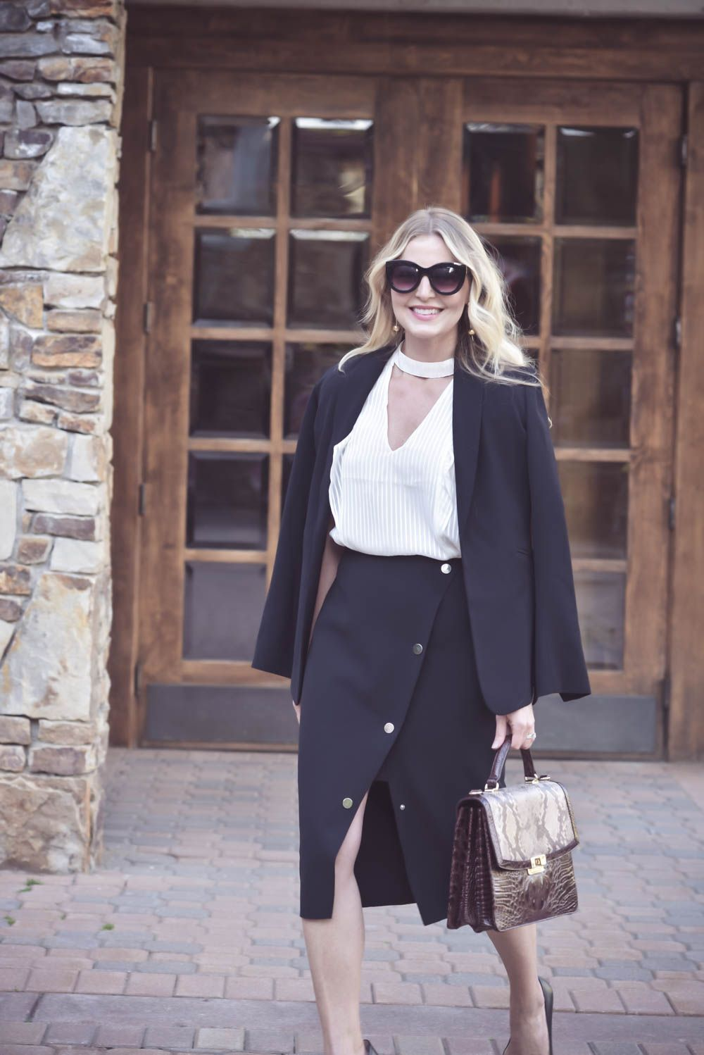 Five modern and sophisticated business casual outfit ideas including pinstripe pants, culottes, power dress, pencil skirt, and winter pastels.