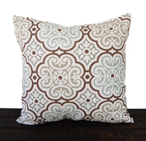 Throw pillow cover cushion cover gray brown light blue brown white pillow  case… 9da8889f5