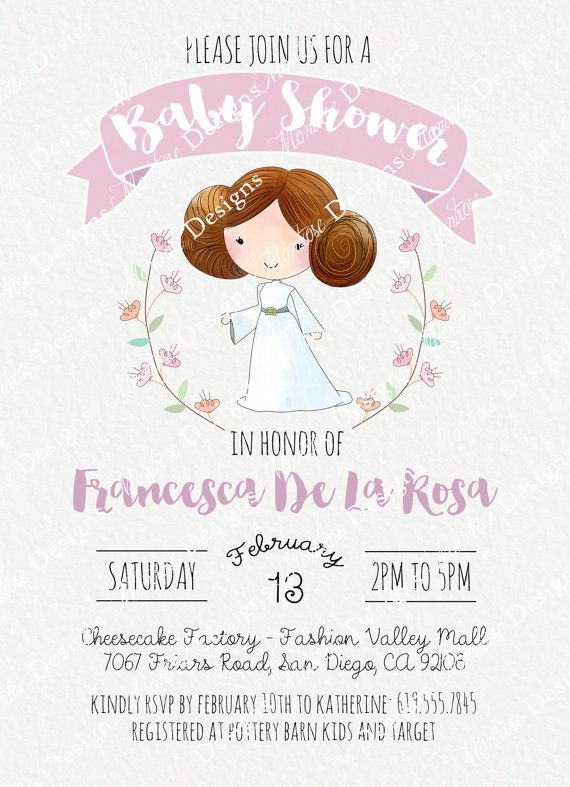 Hand Drawn Princess Leia Baby Shower Birthday Party Invitation Florals Wreath Pink Lavender Di