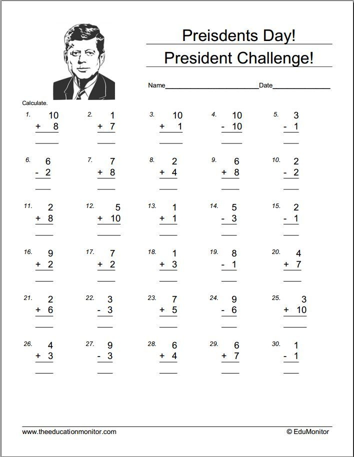 Free Printable President Day Worksheets