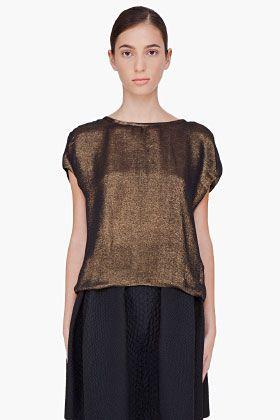 LANVIN Bronze Silk Lamé Top