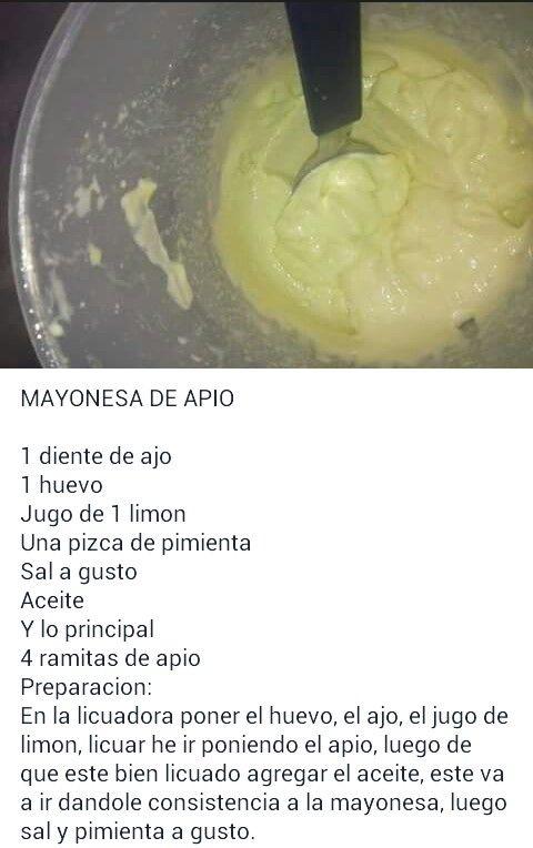 Mayonesa De Apio Comida Vegetariana Recetas Comidas Vegetarianas Saludables Salsa De Apio
