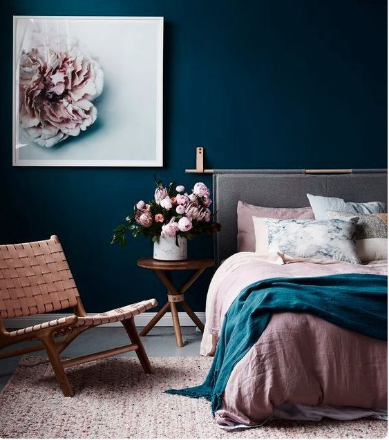 Stunning Marriage Of Navy White And Pink Bedroom Interior Bedroom Design Bedroom Color Schemes