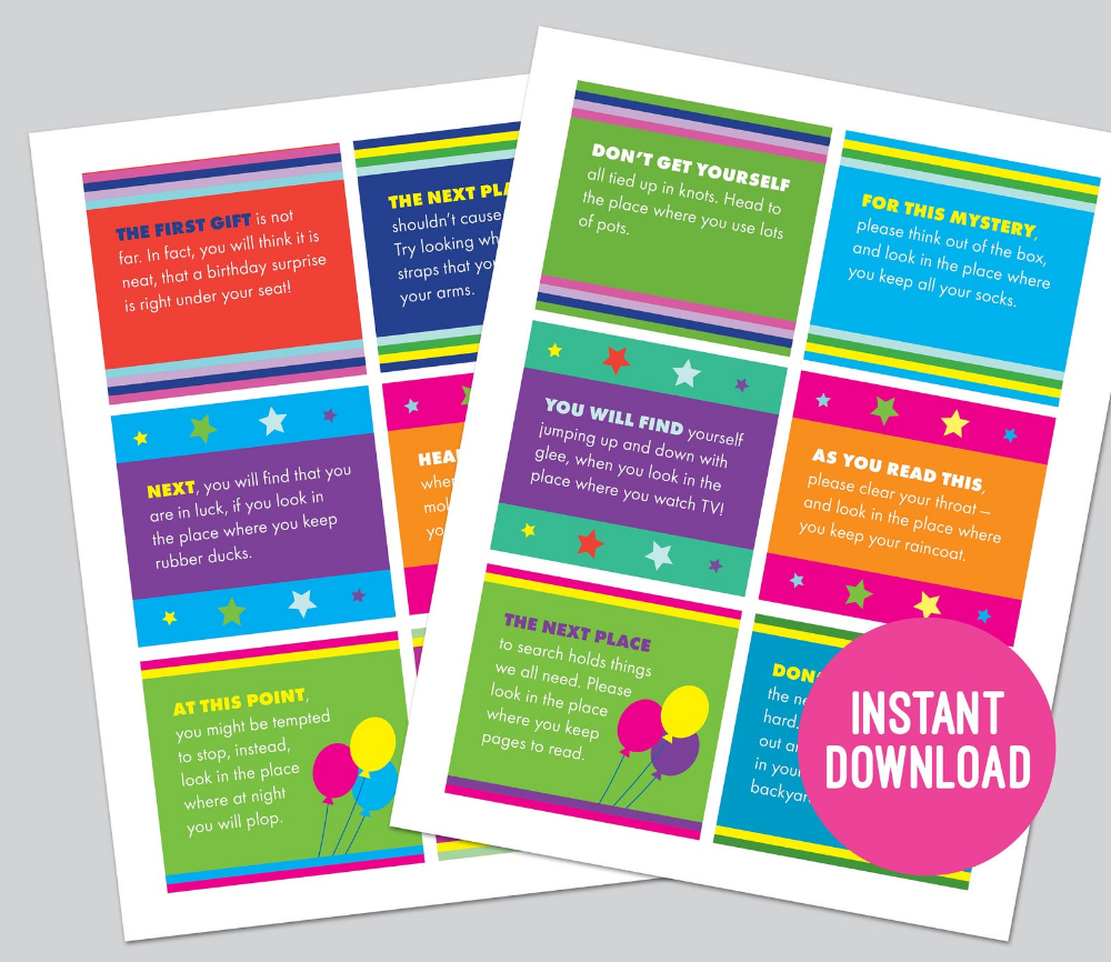 Birthday Scavenger Hunt Clue Cards Printable For Kids Treasure Hunt Clues Party Game Gift Hunt Scavenger Hunt Birthday Scavenger Hunt Clues Treasure Hunt Clues