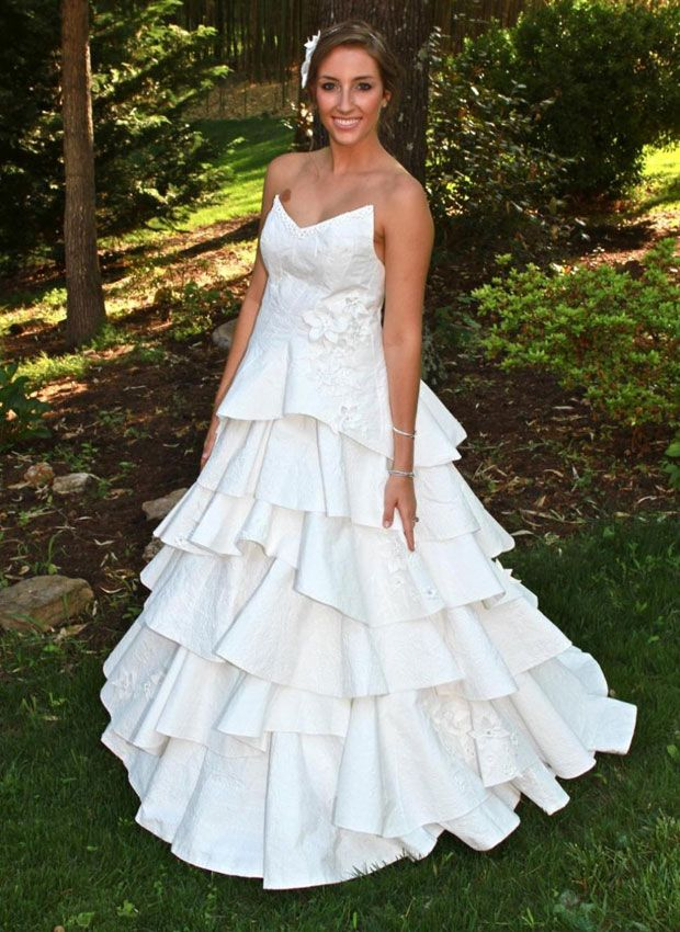 You Ll Never Guess What These Wedding Dresses Are Made Of Toilet Paper Wedding Dress Wedding Dress Material Cheap Wedding Dress