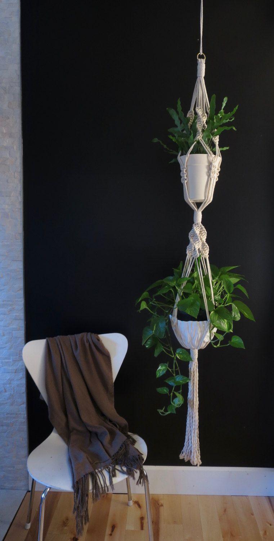 Double macrame plant hanger jardini res macram pinterest macram macetas et colgantes - Colgadores de macetas ...