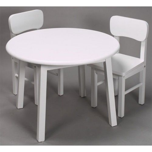 Kids Round Table And Chair Set White Finish By Gift Mark Table