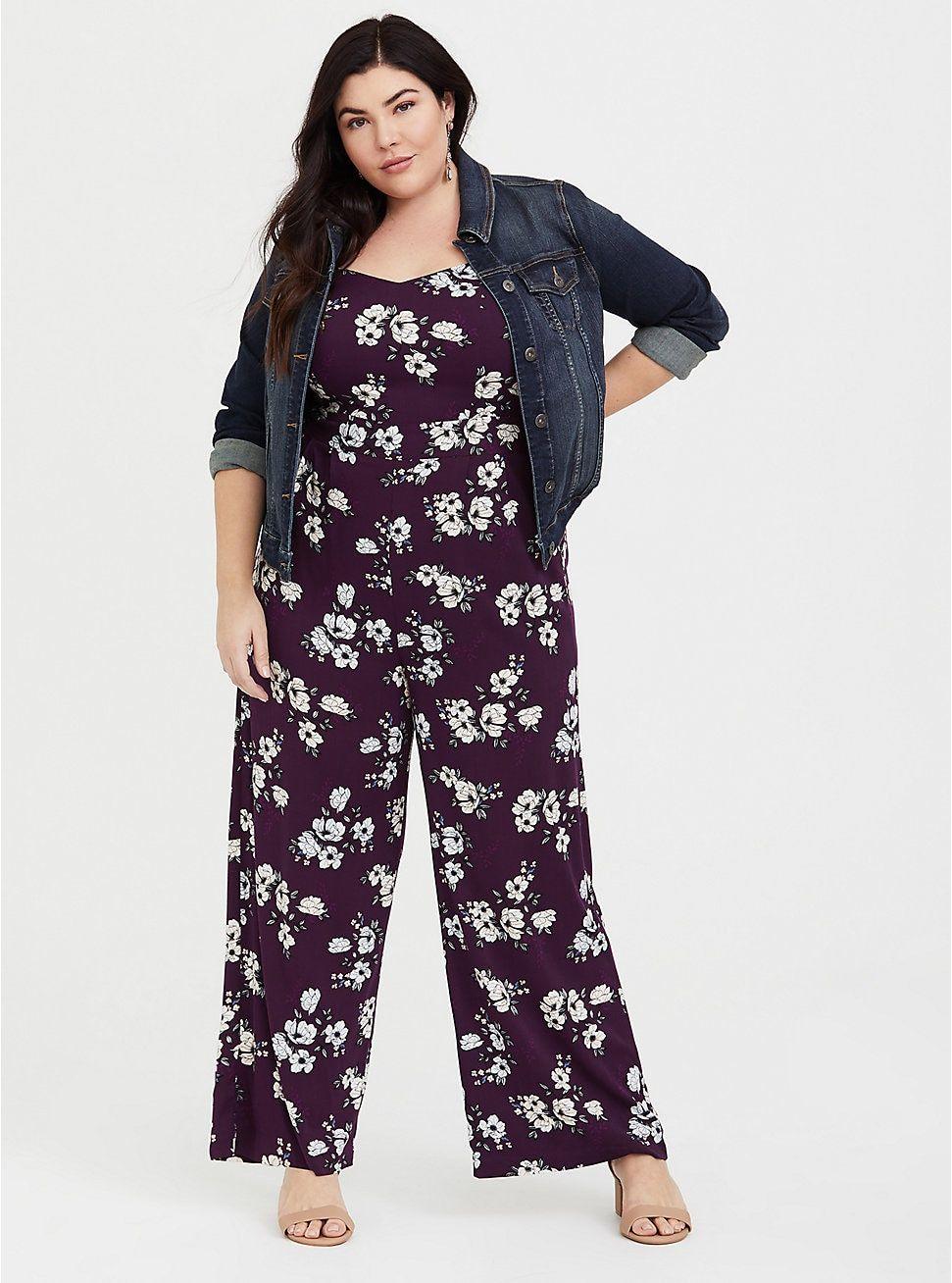 06f713b5e2d0 Purple Floral Wide Leg Challis Jumpsuit in 2019