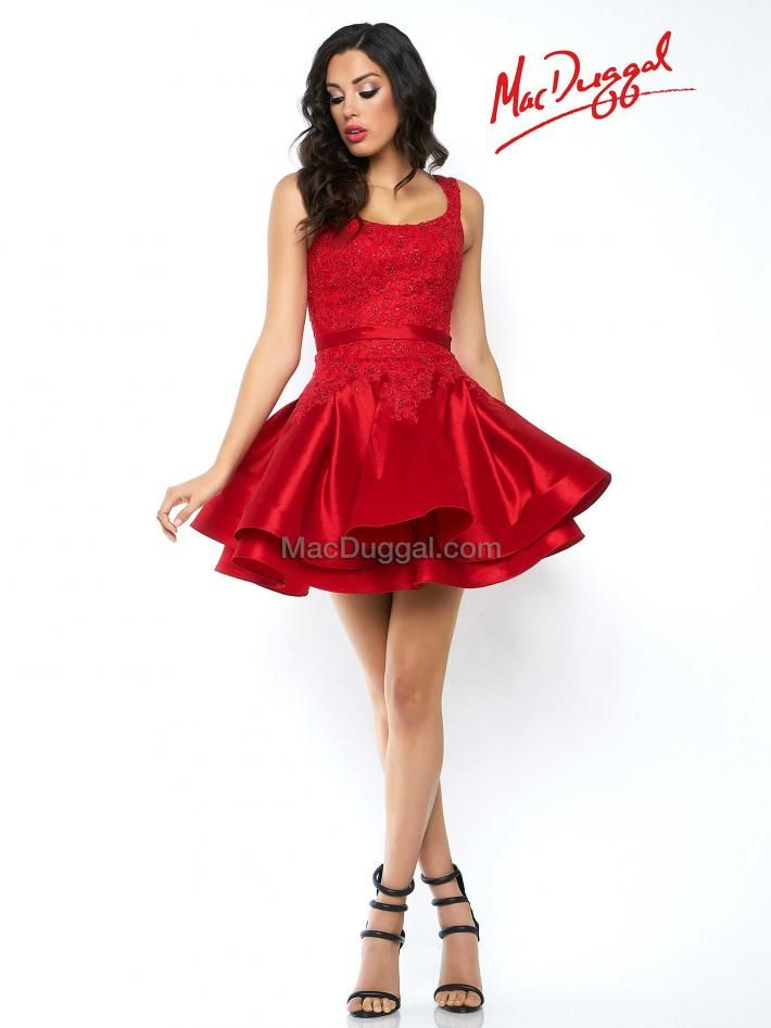 48547n Mac Duggal Slipping On A Red Dress Instantly