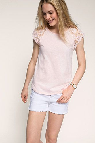 Esprit / T-shirt met gebloemde kant -065ET1K001