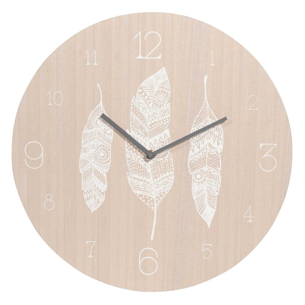 beautiful boho style interiors white feathers printed clock d cm maisons du monde with pendule. Black Bedroom Furniture Sets. Home Design Ideas
