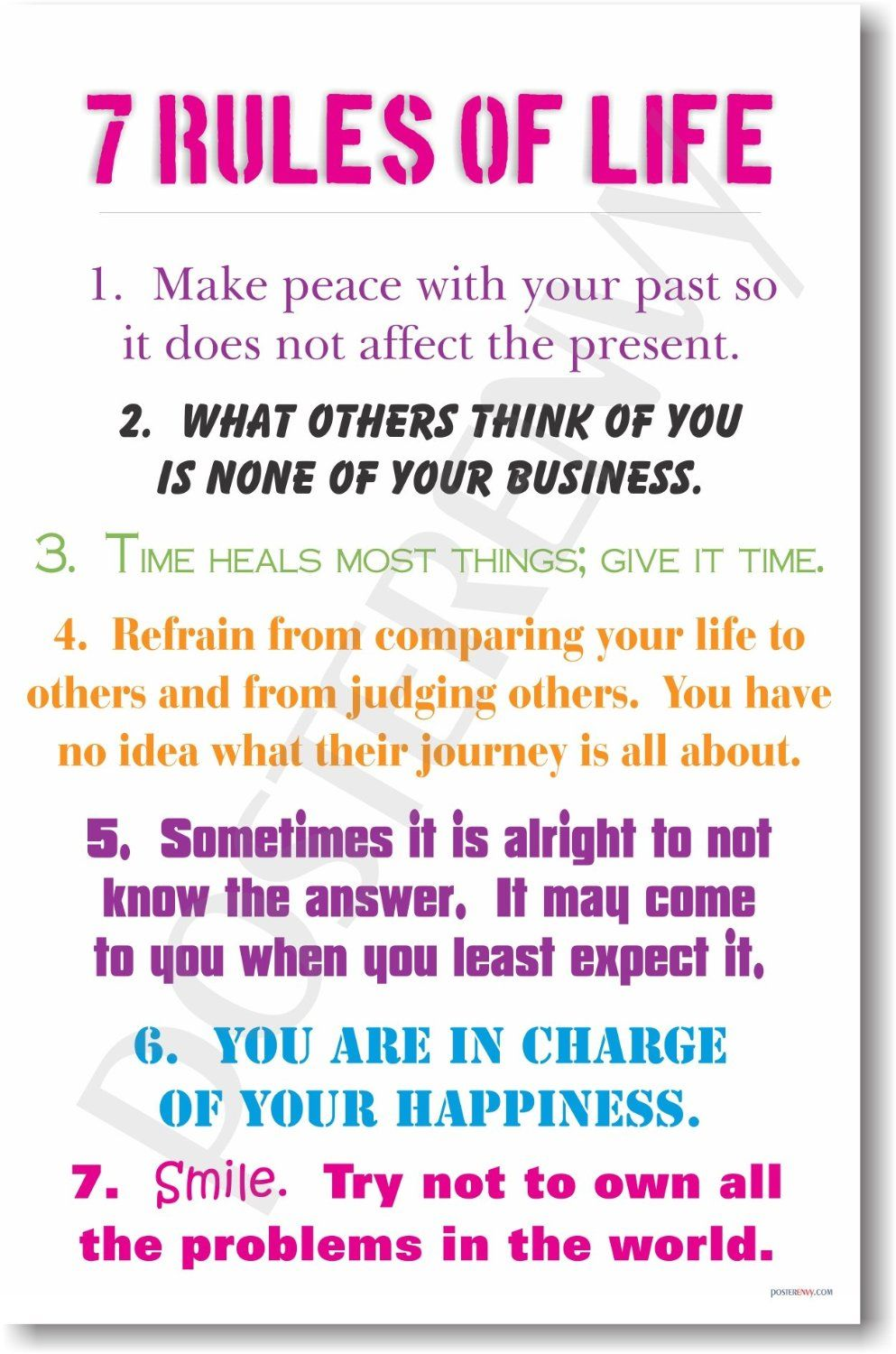 7 Rules Of Life Quote Amazon 7 Rules Of Life  New Classroom Motivational Poster