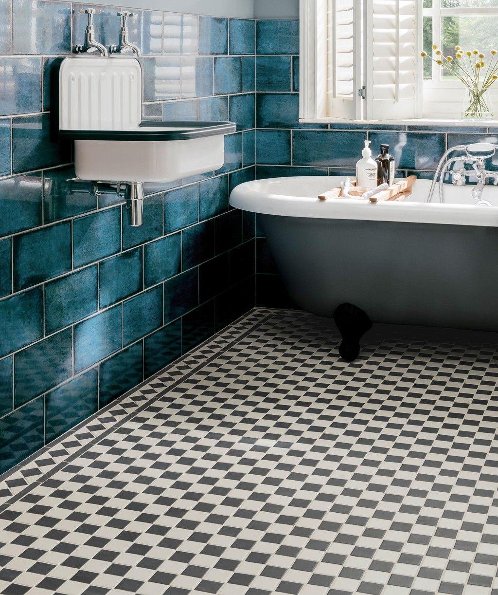 Victorian Black White Chequer Tile Black And White Tiles Bathroom Black And White Bathroom Floor Black Bathroom