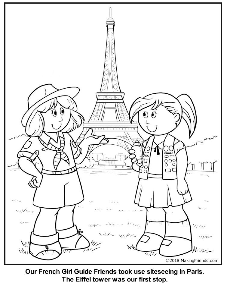 French Girl Guide Coloring Page