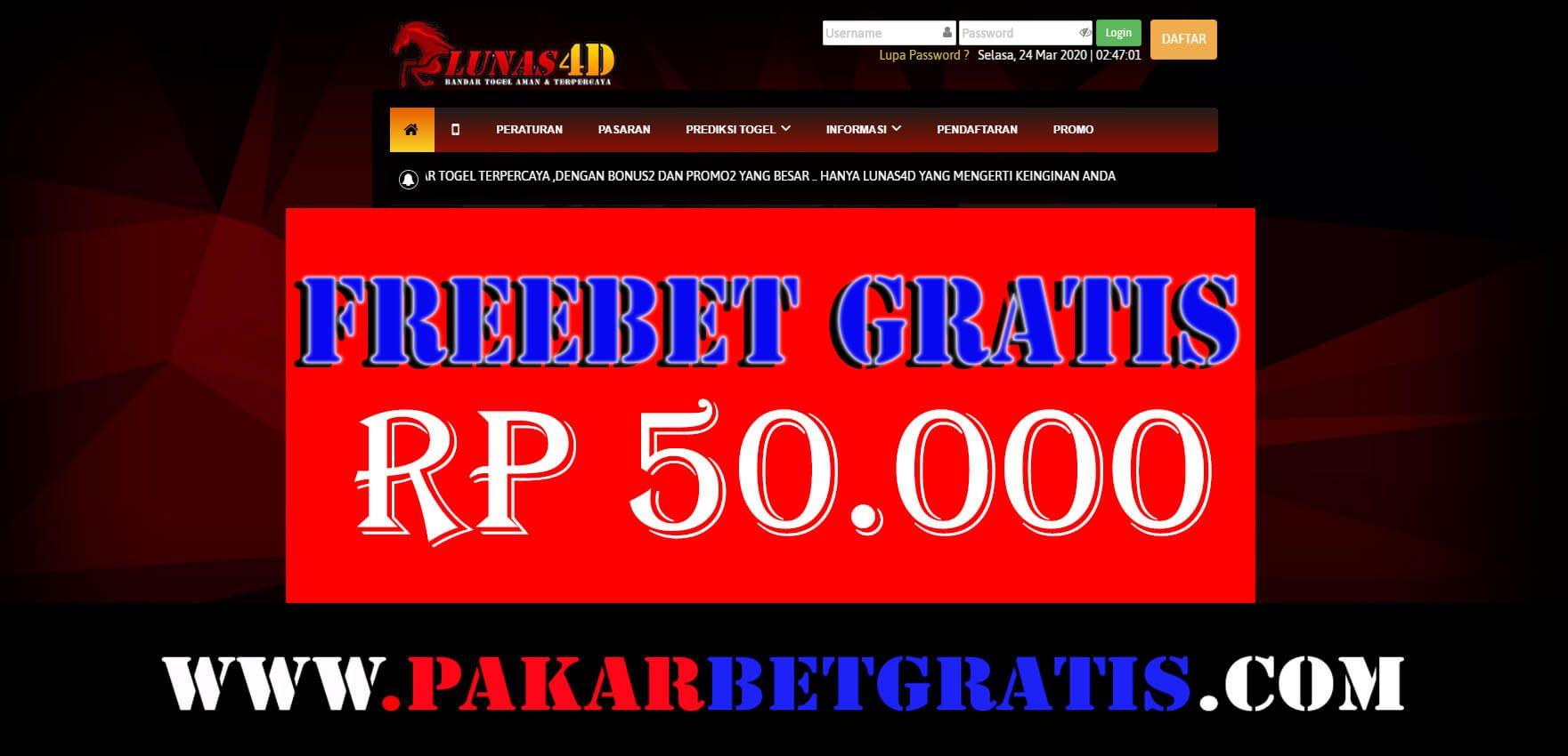 Lunas4d Freebet Gratis Hingga Rp 50 000 Tanpa Deposit Gratis Poker Uang