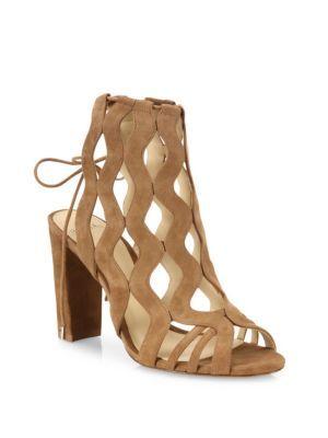 ALEXANDRE BIRMAN Loretta Suede Block-Heel Cage Sandals. #alexandrebirman #shoes #sandals