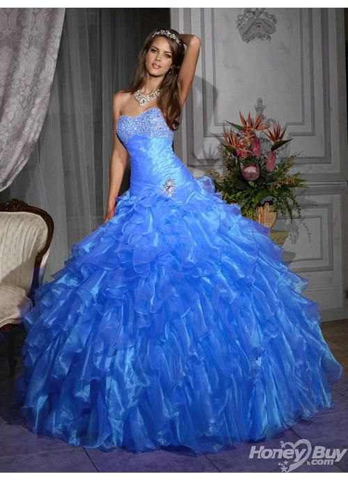 Sweetheart Beading Ruched Stylish Blue Sweet Sixteen Gowns Online ...