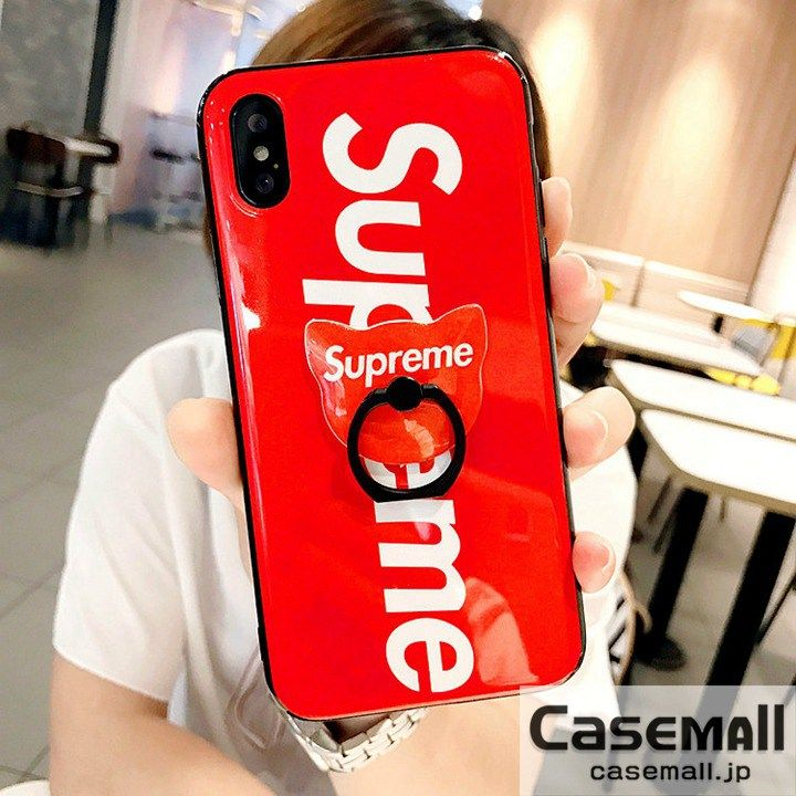 488334e367134d Supreme iphone Xケース リング付き アイフォン8/8PLUS ケース シュプリーム 赤 TPUケース スリム