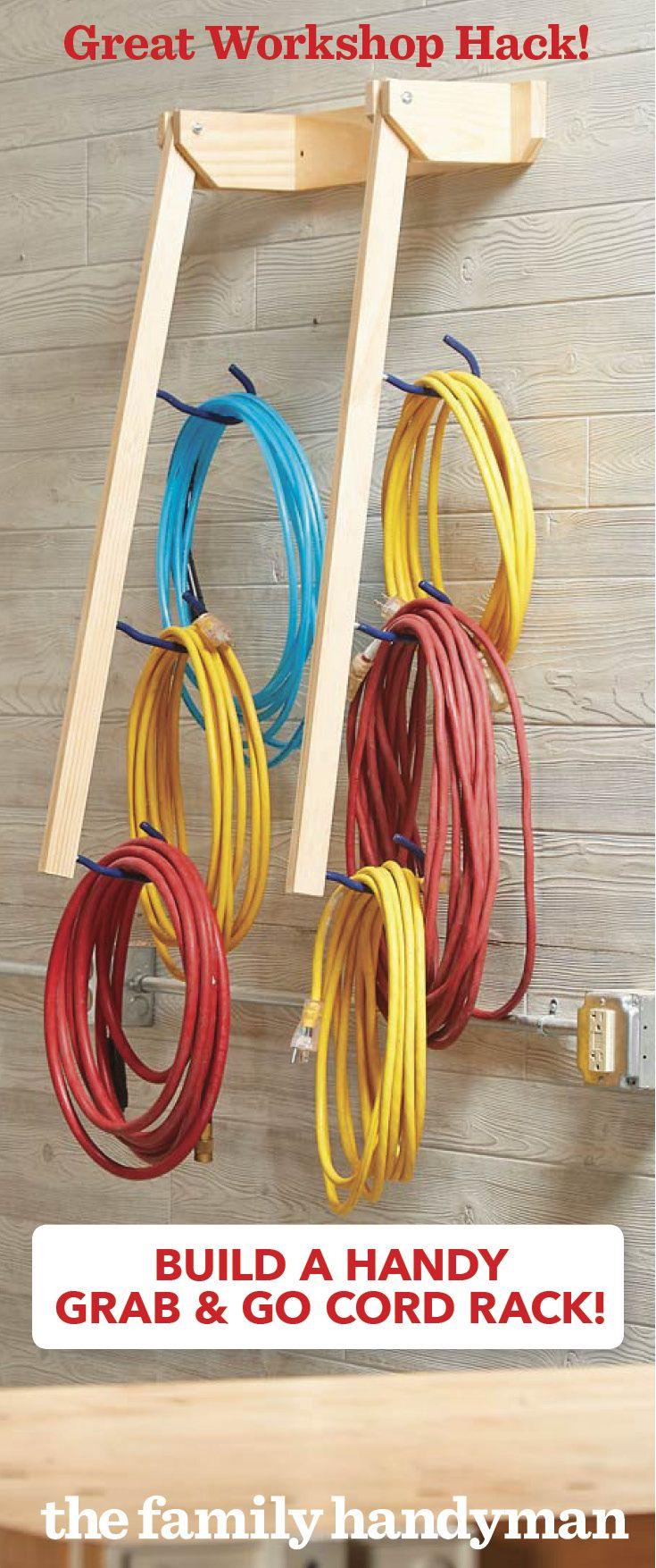 How To Build A Grab Go Cord Rack Garage Storage Garage Organization Garage Tools