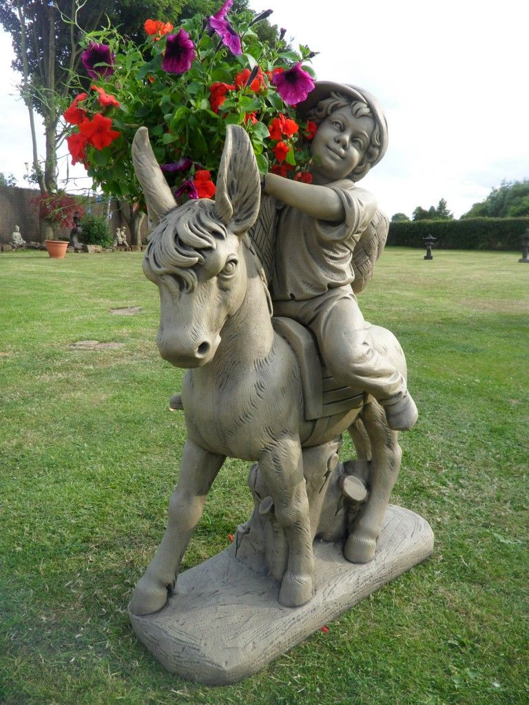 Donkey With Cart Garden Statues Hidden Amongst The Flowers