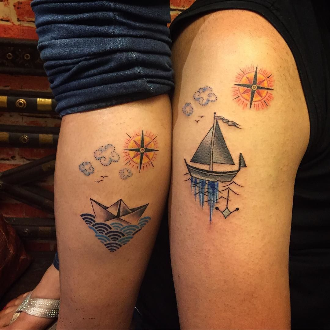 The couple that loves water #tattoo #tattooart #abstract #tattooed #tattoolife #tattooartist #greeshbhambhani #newschool #coupletattoo #smalltattoo #travel #loveforwater #compasstattoo #sailboat #colortattoo #geometrytattoo #geometry #origamitattoo #origami by greeshbhambhani
