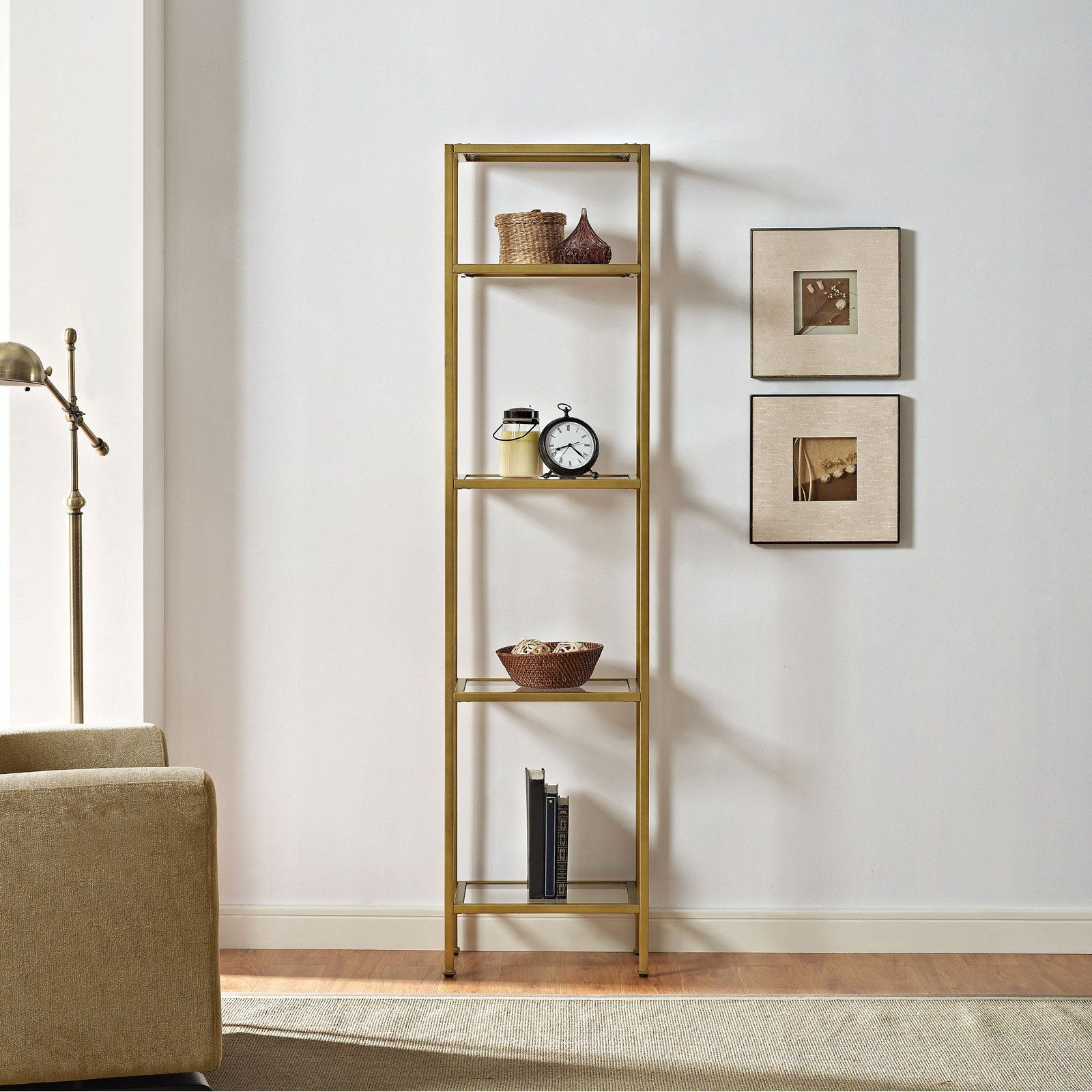 Crosley Aimee Narrow Etagere Bookcase