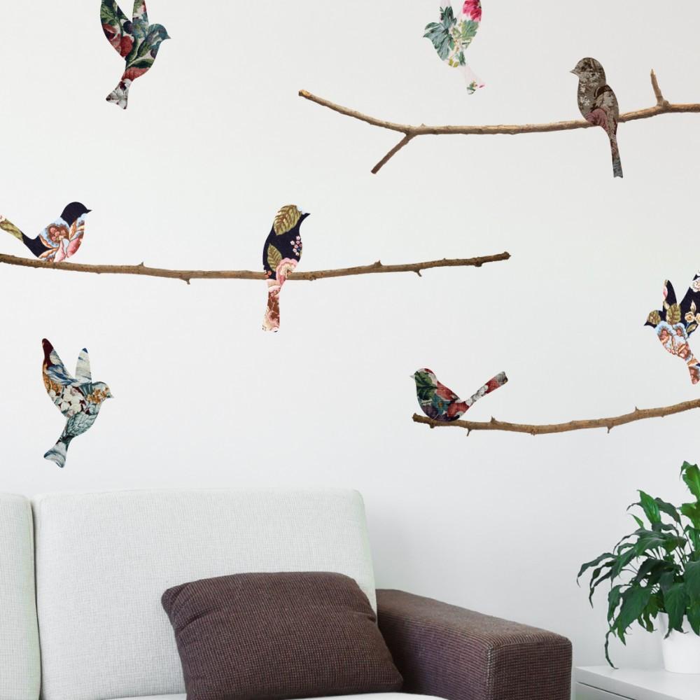 Sticker Oiseaux Sur Un Fil tapestry birds & branches wall decals | bird wall decals