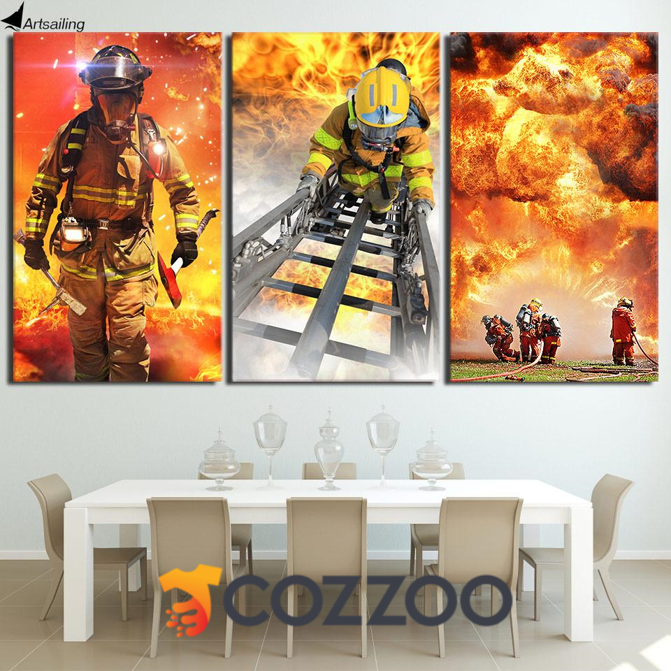 Hd Print 3 Piece Canvas Art Fireman Firefighter Firefighter Wall Art Fireman Canvas Https Www Cozzoo Com Products Hd Print 3 Piece Canvas Art Fireman Firefig