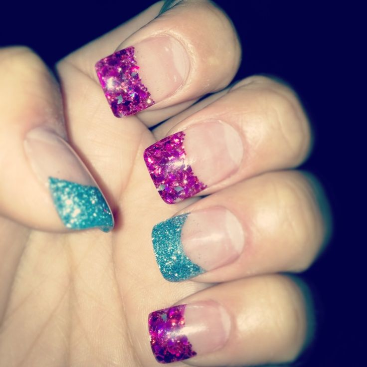 glitter colored nail tips - Google Search | nails | Pinterest ...