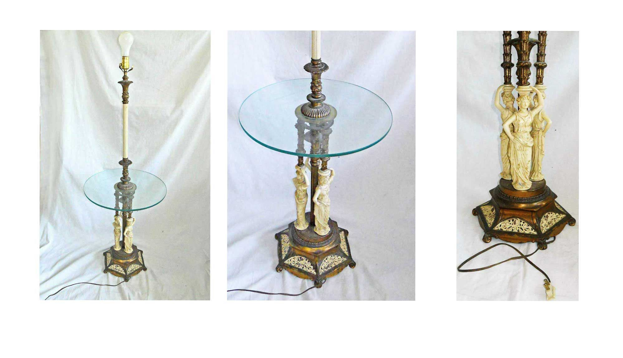 Floor Lamp Table Figural Sculpture Hollywood Regency Baroque Brass