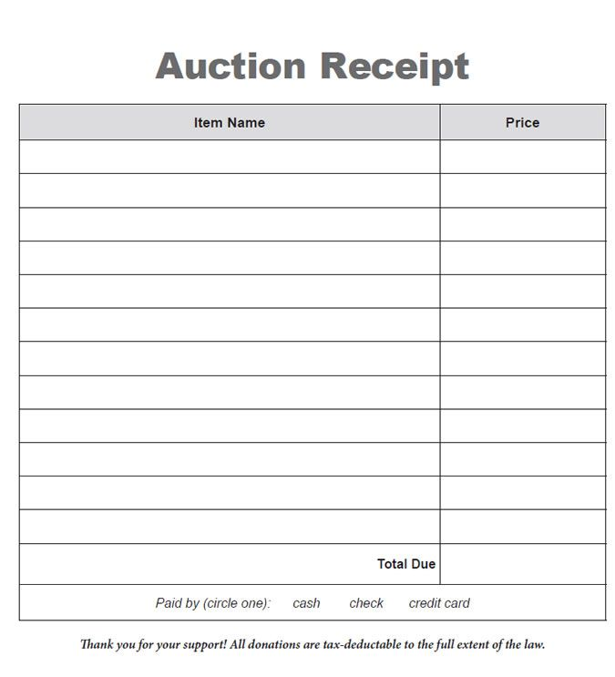 Auction Donation Receipt Template Sparkler Silent Auction Receipt Template Silent Auction Bid Sheets