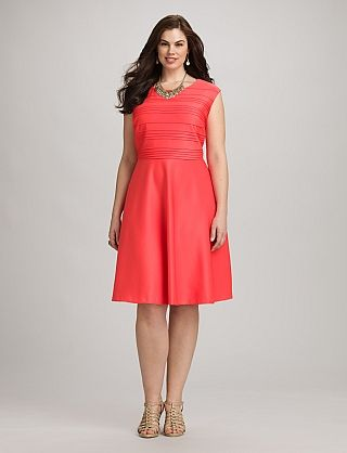Plus Size Textured Coral Fit And Flare Dress Fashion Pinterest