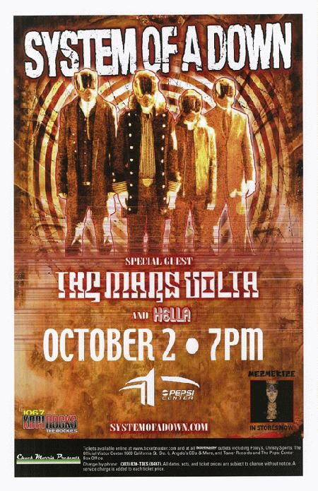 Concert Poster For System Of A Down And The Mars Volta At The