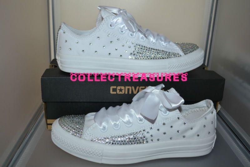 7292cb1ff69f Custom Crystal Diamante Bling Wedding White MONO Converse Size UK 3 4 5 6 7  8 9
